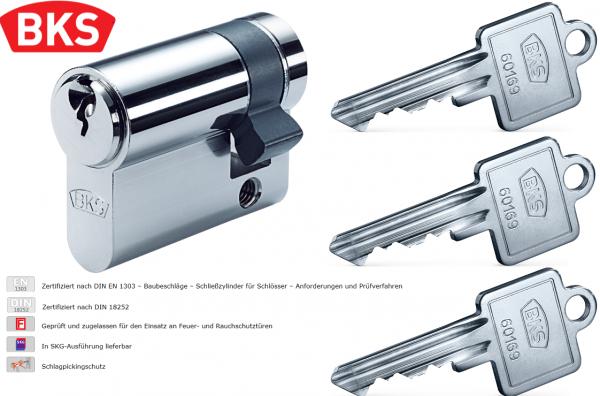 BKS 8900 Profilhalbzylinder Halbzylinder Schließzylinder Garagentor 3 Schlüssel